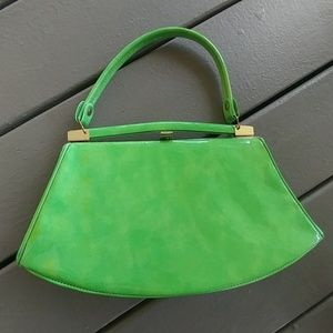 Vintage lime green patent handbag